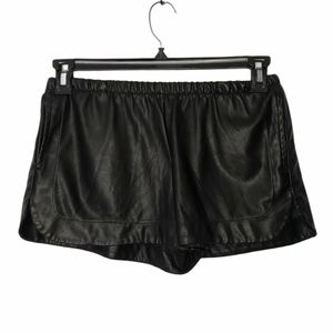 BRANDY MELVILLE black faux leather shorts one size